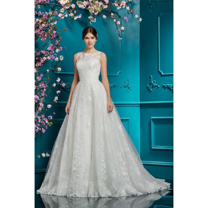 Mariage - Ellis Bridal 2018 Style 12279 Illusion Ball Gown Chapel Train Sweet Sleeveless Ivory Hand-made Flowers Lace Wedding Gown - Charming Wedding Party Dresses