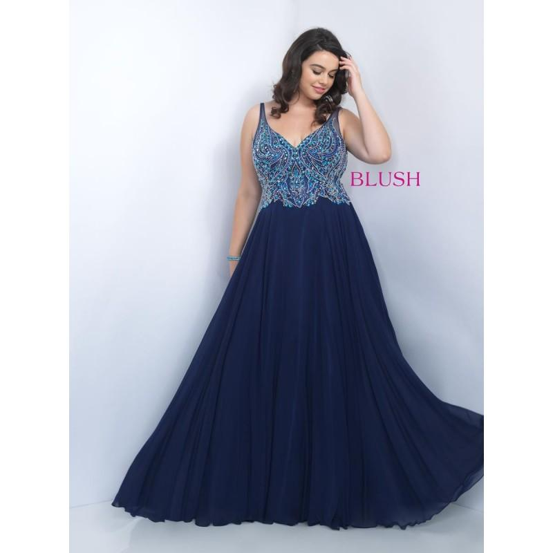 0d0d992aedf Blush Too 11058W V Neck Chiffon Plus Size Prom Gown - Brand Prom Dresses
