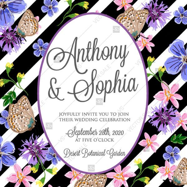 Wedding Invitation Vector Card Template Romantic Flower Dog Rose