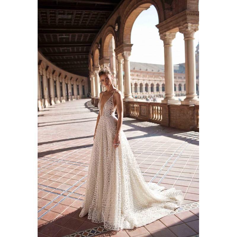 Свадьба - Berta Fall/Winter 2018 Style 18-110 Open Back Chapel Train Ivory Spaghetti Straps Aline Sleeveless Beading Lace Wedding Dress - Crazy Sale Bridal Dresses