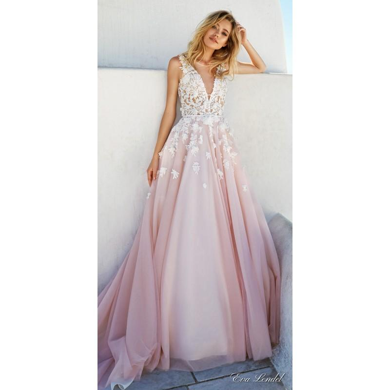 Свадьба - Eva Lendel 2017 Britany Tulle Colorful Hand-made Flowers Ball Gown Sleeveless Scoop Neck Pink Royal Train Wedding Dress - Customize Your Prom Dress