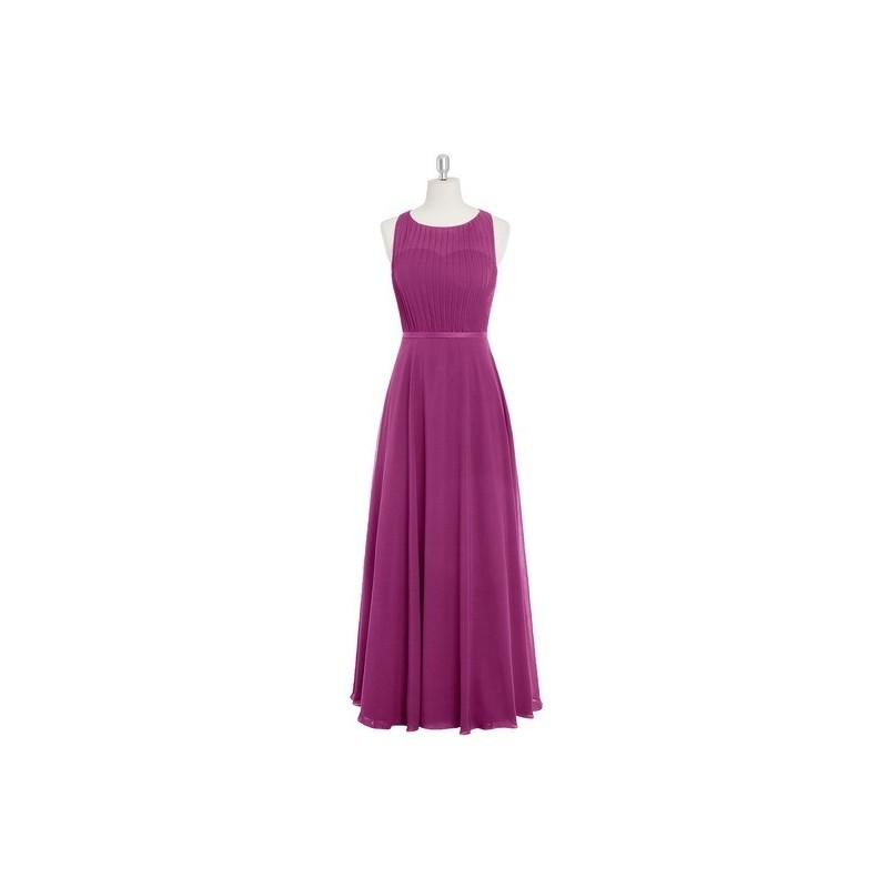 Wedding - Orchid Azazie Avery - Scoop Chiffon And Satin Floor Length Illusion Dress - Charming Bridesmaids Store