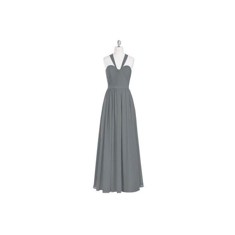 Wedding - Steel_grey Azazie Fatima - Back Zip Chiffon Sweetheart Floor Length Dress - Charming Bridesmaids Store
