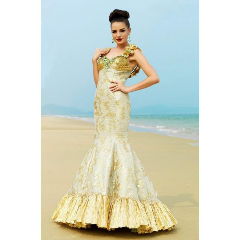 Wedding - MNM Couture - KH019 Ruffled Pleated Metallic Mermaid Gown - Designer Party Dress & Formal Gown