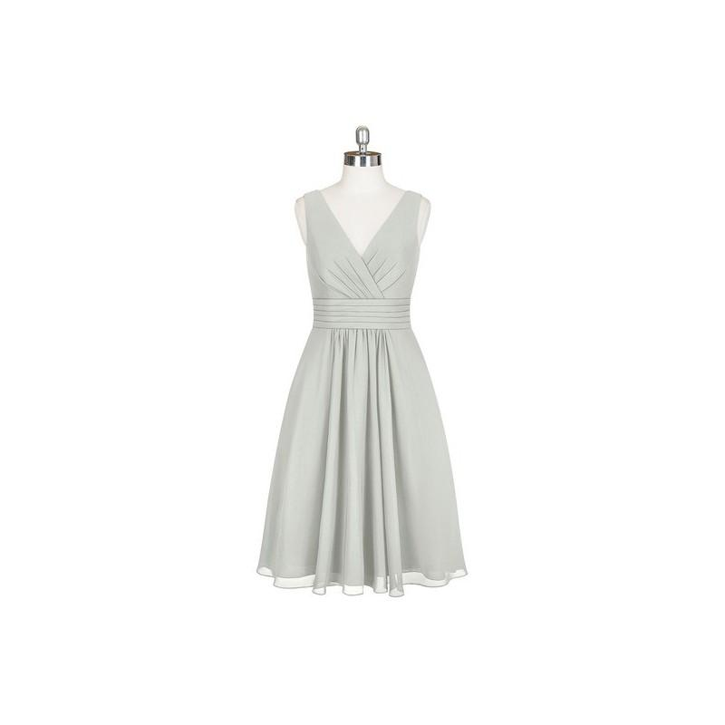 Mariage - Silver Azazie Kyla - Knee Length Chiffon V Neck Back Zip - Charming Bridesmaids Store