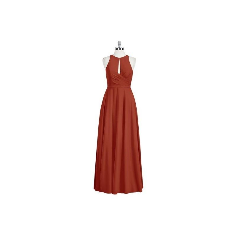 Mariage - Rust Azazie Bridget - Chiffon Back Zip Floor Length Scoop - Simple Bridesmaid Dresses & Easy Wedding Dresses