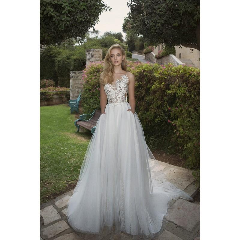 Wedding - Dany Mizrachi Spring/Summer 2018 DM03/18 S/S Chapel Train Open Back Ivory Illusion Tulle Sleeveless Embroidery Wedding Dress - Truer Bride - Find your dreamy wedding dress