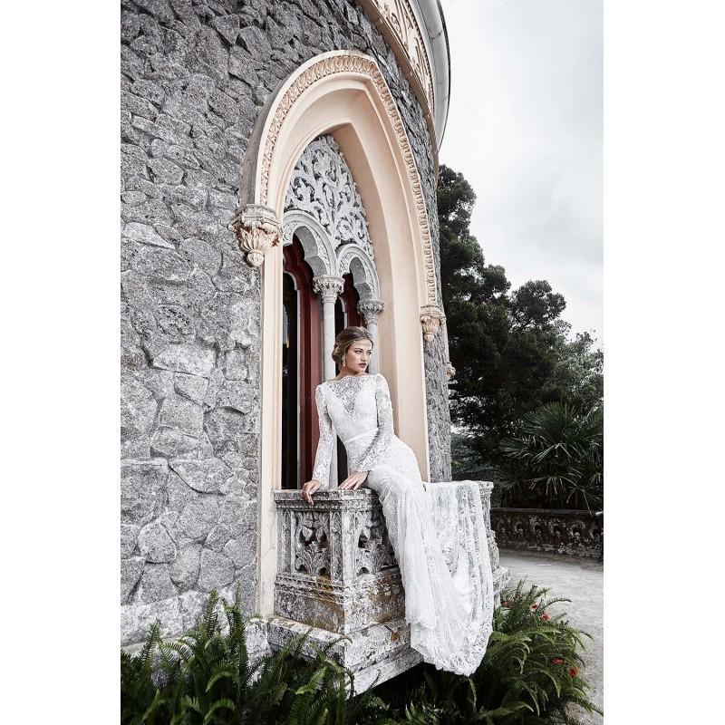 Wedding - Solo Merav 2017 Victoria Open Back Lace Ivory Bow Long Sleeves Chapel Train Elegant Winter Bateau Fit & Flare Wedding Gown - Bridesmaid Dress Online Shop