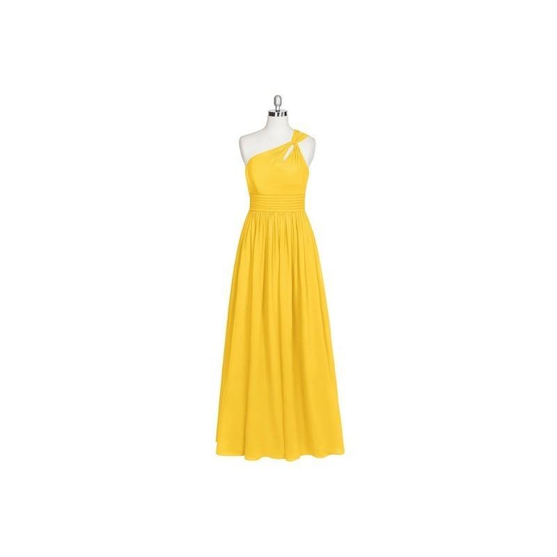Свадьба - Marigold Azazie Vanessa - Back Zip Floor Length Chiffon One Shoulder - Charming Bridesmaids Store