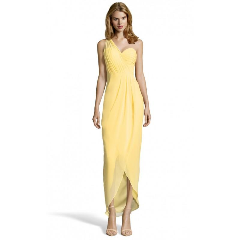 Свадьба - Bariano B29D06 Sleeveless Fit & Flare One-Shoulder Ankle-Length Simple Yellow Chiffon Ruffle Zipper Up Cocktail Dress - Designer Party Dress & Formal Gown