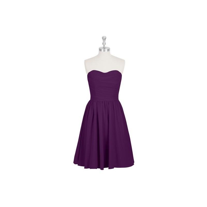 Wedding - Grape Azazie Kaiya - Knee Length Chiffon Back Zip Sweetheart Dress - Charming Bridesmaids Store