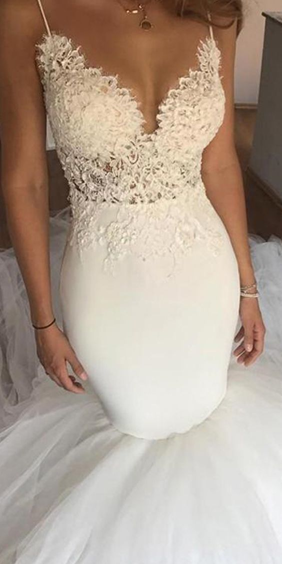 Свадьба - Mermaid Wedding Dress Lace Wedding Gowns Sexy Wedding Dresses With Lace Appliques