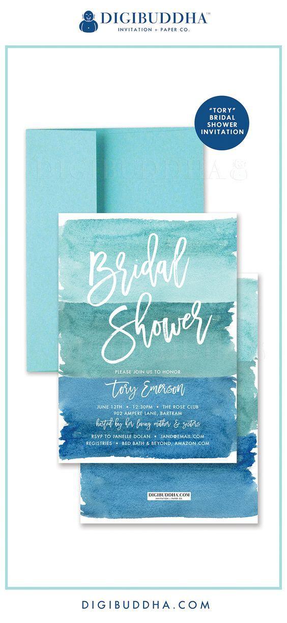 "Свадьба - ""Tory"" Turquoise Watercolor Bridal Shower Invitation"