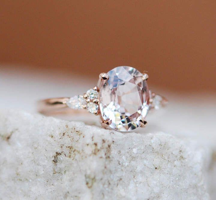 Wedding - Etsy Moody Engagement Ring. 3ct Color Change Sapphire Ring. Rose Gold Engagement Ring Campari Ring Oval R