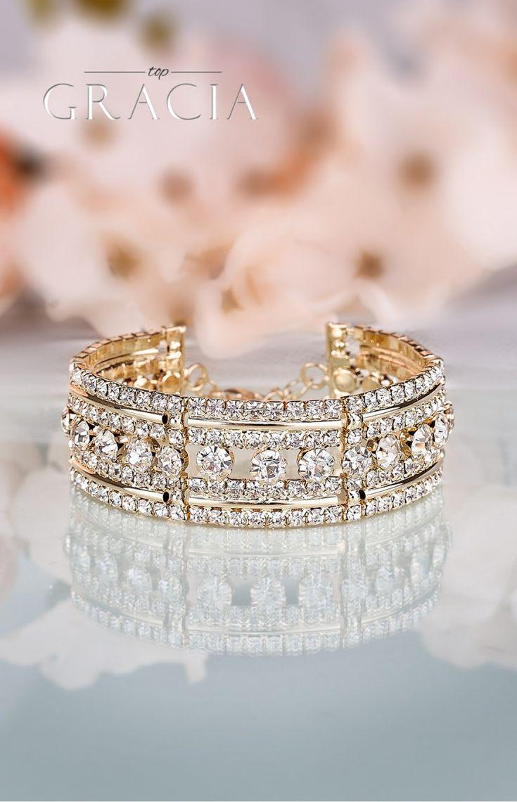 Mariage - DESPOINE Gold Crystal Bridal Wedding Bracelet