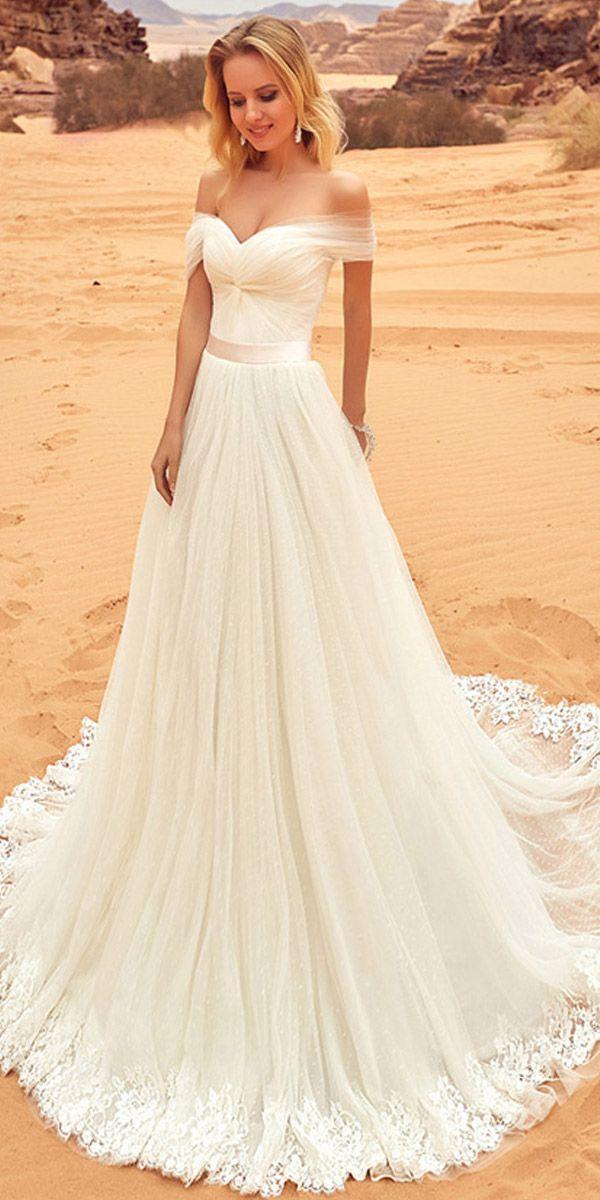 زفاف - Fantastic Tulle Off-the-shoulder Neckline A-line Wedding Dress With Lace Appliques