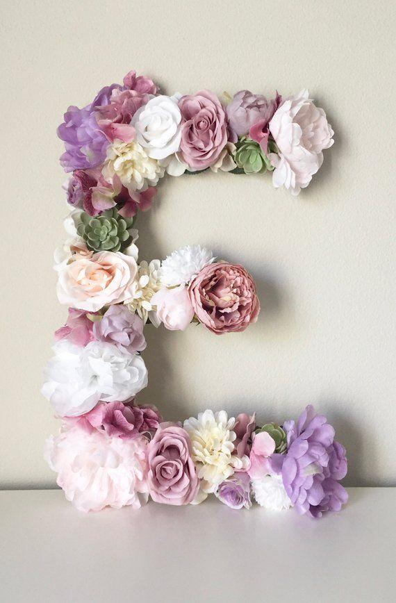 Wedding - Large Floral Letter, Wood Letter, Flower Letter, Baby Shower Gift, Bridal Shower Decor, Party Decor, First Birthday, Lavender Nursery Purple