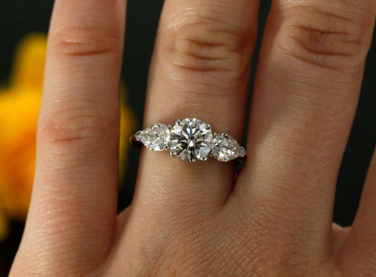 زفاف - 7mm Forever Brilliant And NEO Moissanite Three Stone Engagement Ring In 14K White Gold (rose Gold, Yellow Gold And Platinum Available)