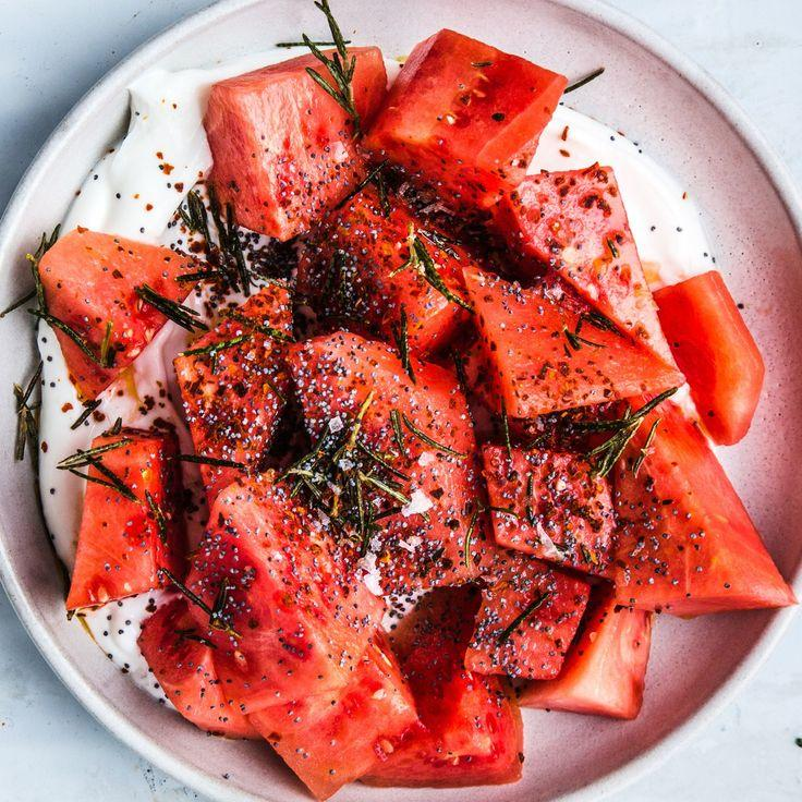Wedding - Watermelon With Yogurt, Poppy Seeds, And Fried Rosemary
