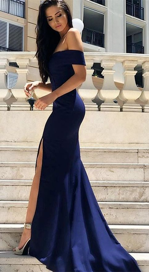 Wedding - Sexy Leg Slit Long Mermaid Evening Dress Off Shoulder Prom Gowns Royal Blue Prom Dresses U5652 From Ulass