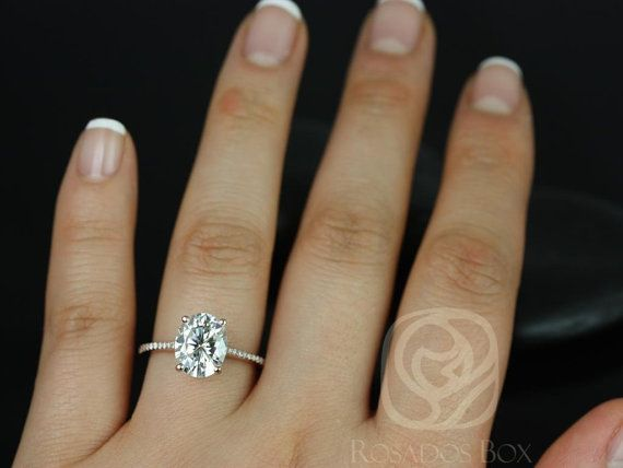 Wedding - Rosados Box Blake 10x8mm 14kt Rose Gold Oval F1- Moissanite And Diamonds Cathedral Engagement Ring