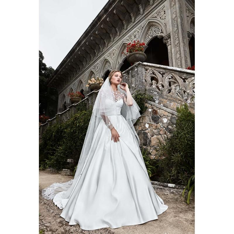 Wedding - Solo Merav 2017 Camila Sweet Pearl Buttons Chapel Train Satin Ivory Embroidery Illusion Long Sleeves Ball Gown Wedding Dress - Crazy Sale Bridal Dresses