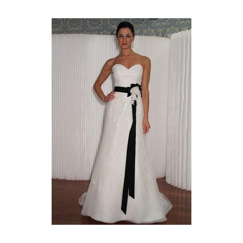 زفاف - Modern Trousseau - Fall 2012 - Strapless Chiffon A-Line Wedding Dress with Lace Applique Details - Stunning Cheap Wedding Dresses