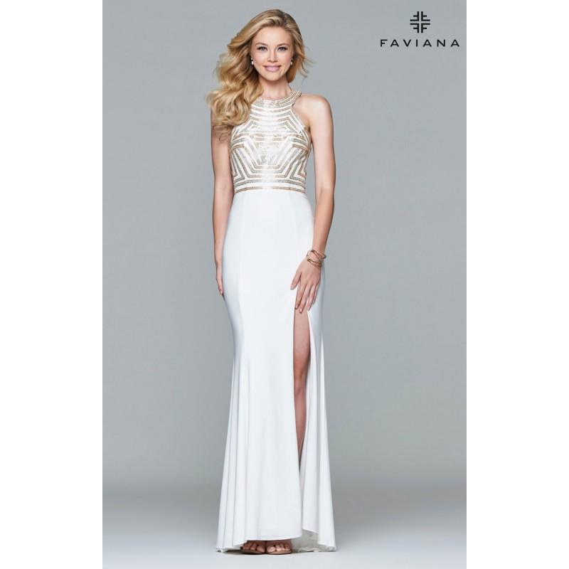 Mariage - Ivory Faviana 7924 - Sleeveless High Slit Jersey Knit Open Back Dress - Customize Your Prom Dress