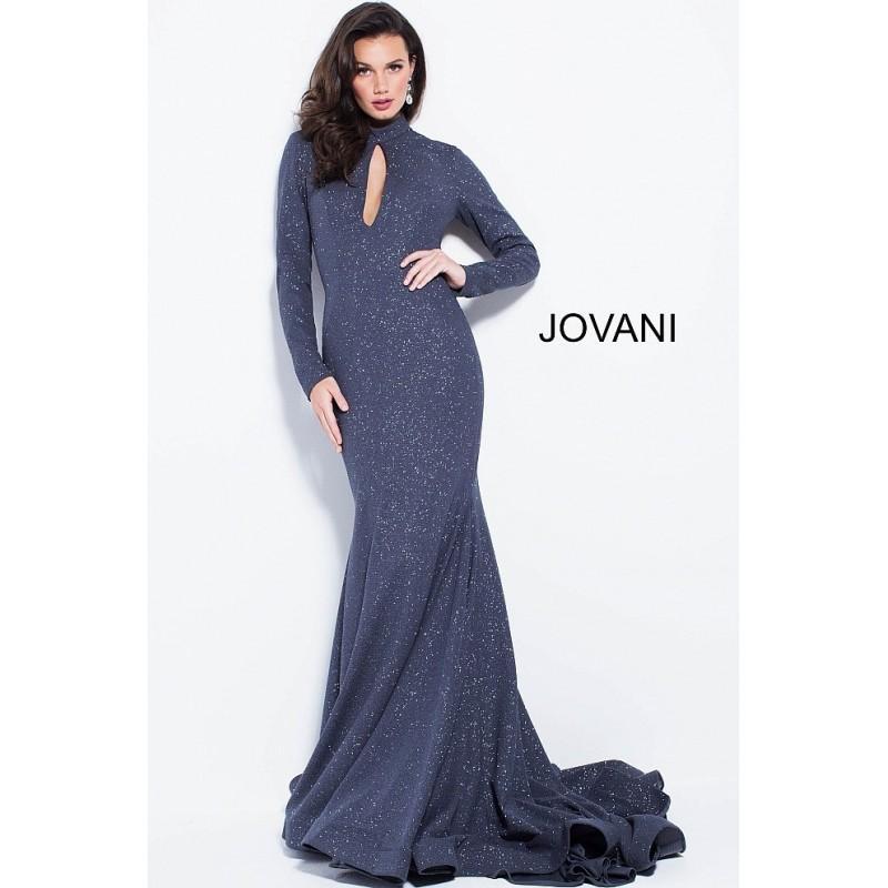 Wedding - Jovani 55205 High Neck Formal Dress with Long Train - 2018 New Wedding Dresses