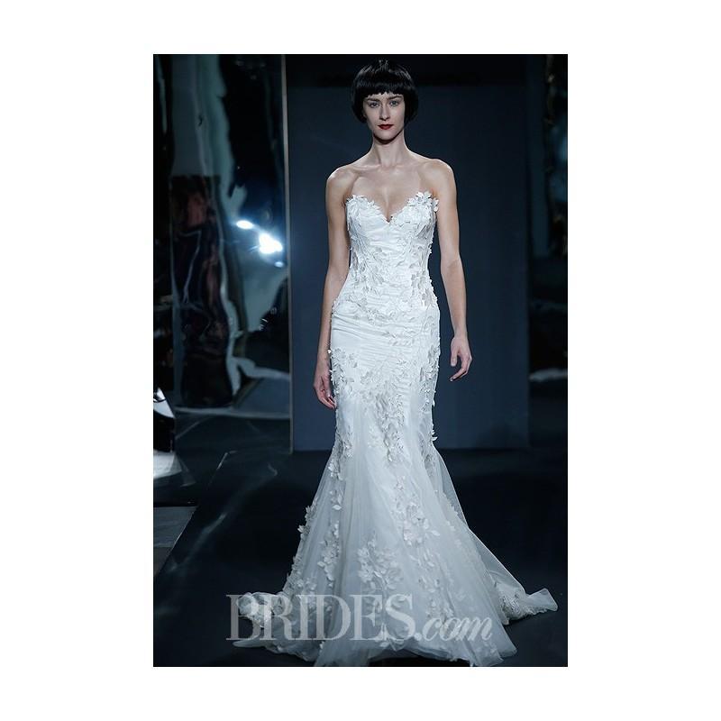 Wedding - Mark Zunino for Kleinfeld - 2014 - Style 79 Strapless Satin Mermaid Wedding Dress with Floral Details - Stunning Cheap Wedding Dresses