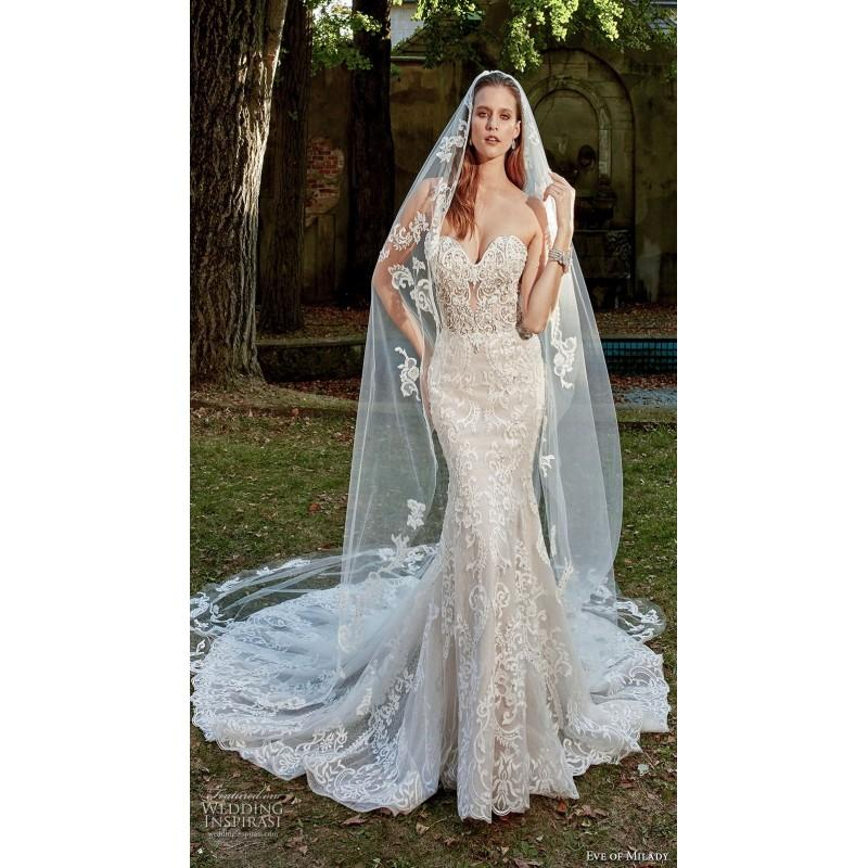 Wedding - Eve of Milady Spring/Summer Chapel Train Sweet Sleeveless Sweetheart Fit & Flare Nude Beading Lace Wedding Dress - Bridesmaid Dress Online Shop