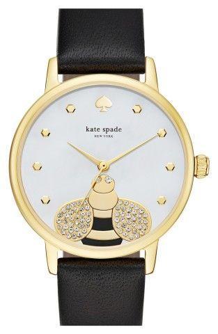 زفاف - Kate Spade New York 'metro - Bee' Leather Strap Watch, 34mm