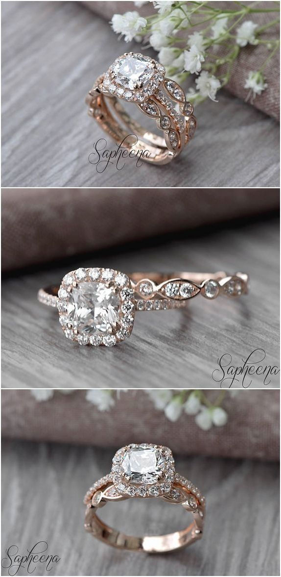 Mariage - Set Of 2, Brilliant Cushion Cut Engagement Ring With Art Deco Band In 14k Rose Gold, Stacking, Bridal Set, Wedding Ring Band Set By Sapheena