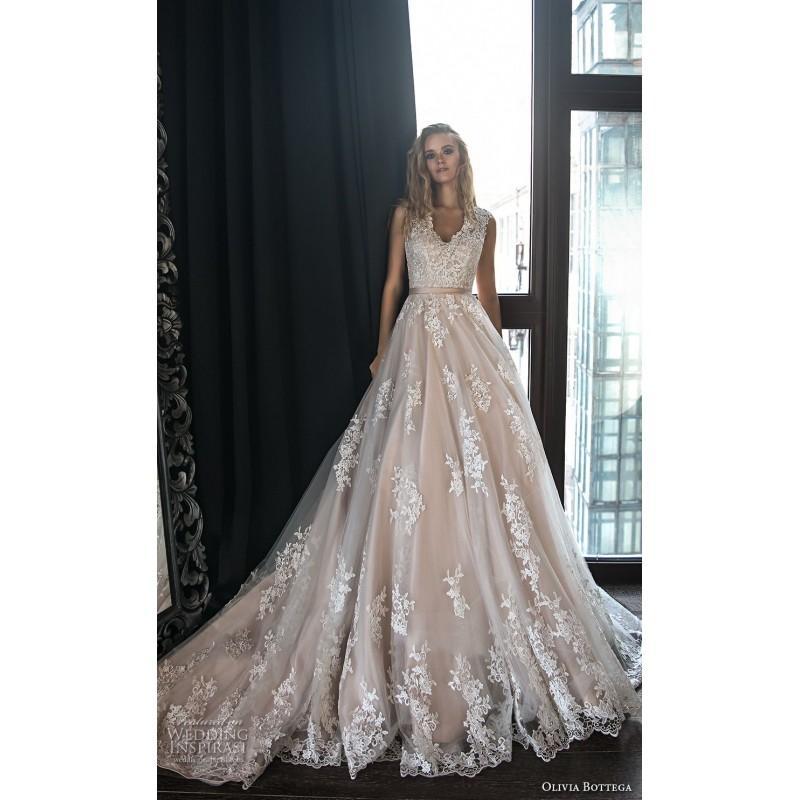 Mariage - Olivia Bottega 2018 Adel Chapel Train Covered Button Tulle Appliques Blush Sweet Aline V-Neck Sleeveless Bridal Gown - Robes de mariée France
