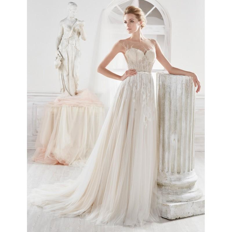 Hochzeit - Nicole 2018 NIAB18067 Cream Elegant Chapel Train Cap Sleeves Aline Illusion Zipper Up at Side Lace Beading Bridal Dress - Bridesmaid Dress Online Shop