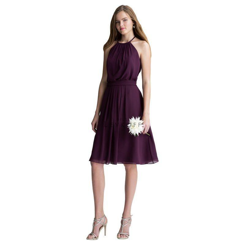 Wedding - Bill Levkoff 1400 Halter Chiffon Knee Length Bridesmaid Dress - Crazy Sale Bridal Dresses