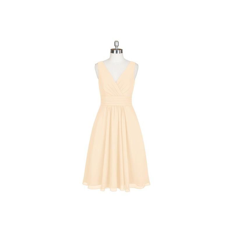 Wedding - Peach Azazie Kyla - Knee Length Chiffon Back Zip V Neck - Simple Bridesmaid Dresses & Easy Wedding Dresses