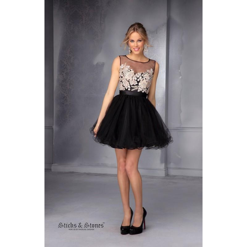Свадьба - Black/Champagne Sticks and Stones 9285 - Short Sheer Dress - Customize Your Prom Dress