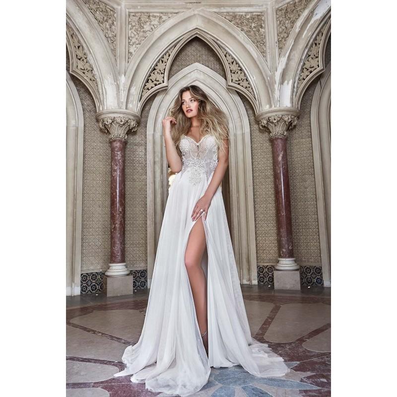 Hochzeit - Solo Merav 2017 Sintra Chapel Train Ivory Split Aline Spaghetti Straps Sleeveless Tulle Open Back Beading Beach Wedding Dress - Designer Party Dress & Formal Gown