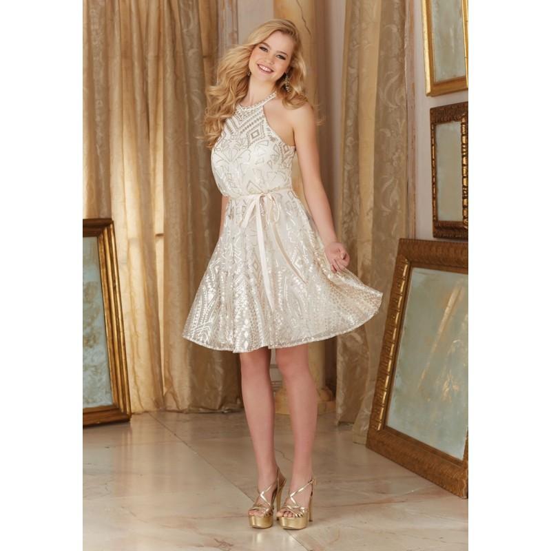 Hochzeit - Mori Lee 20482 Bridesmaid Dress - Mori Lee Short Bridesmaids A Line Scoop, Sleeveless Sequin on Mesh Dress - 2018 New Wedding Dresses