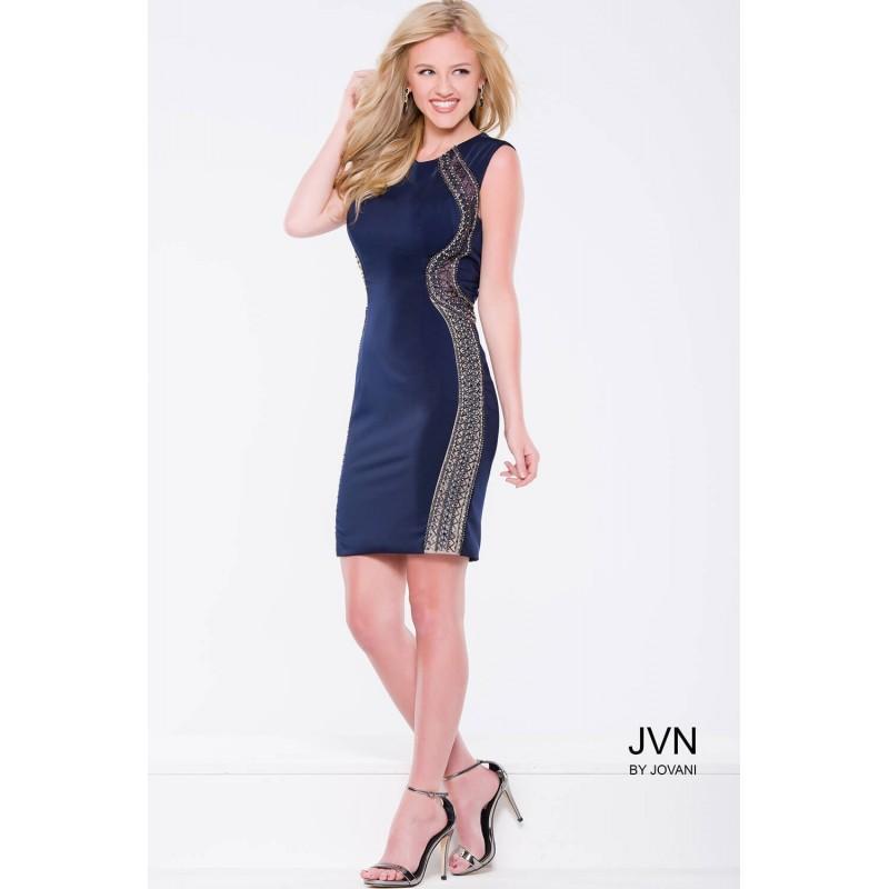 Wedding - Jovani JVN41538 Dress - Illusion, Jewel Fitted JVN by Jovani Short and Cocktail Short Dress - 2018 New Wedding Dresses