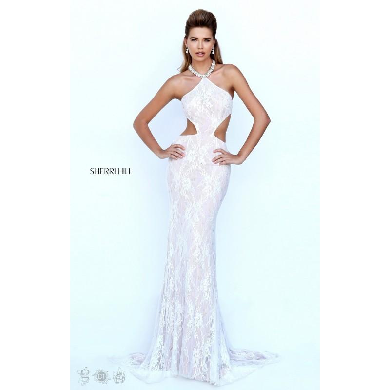 Wedding - Aqua/Nude Sherri Hill 50018 - Cut-outs Lace Open Back Sexy Dress - Customize Your Prom Dress