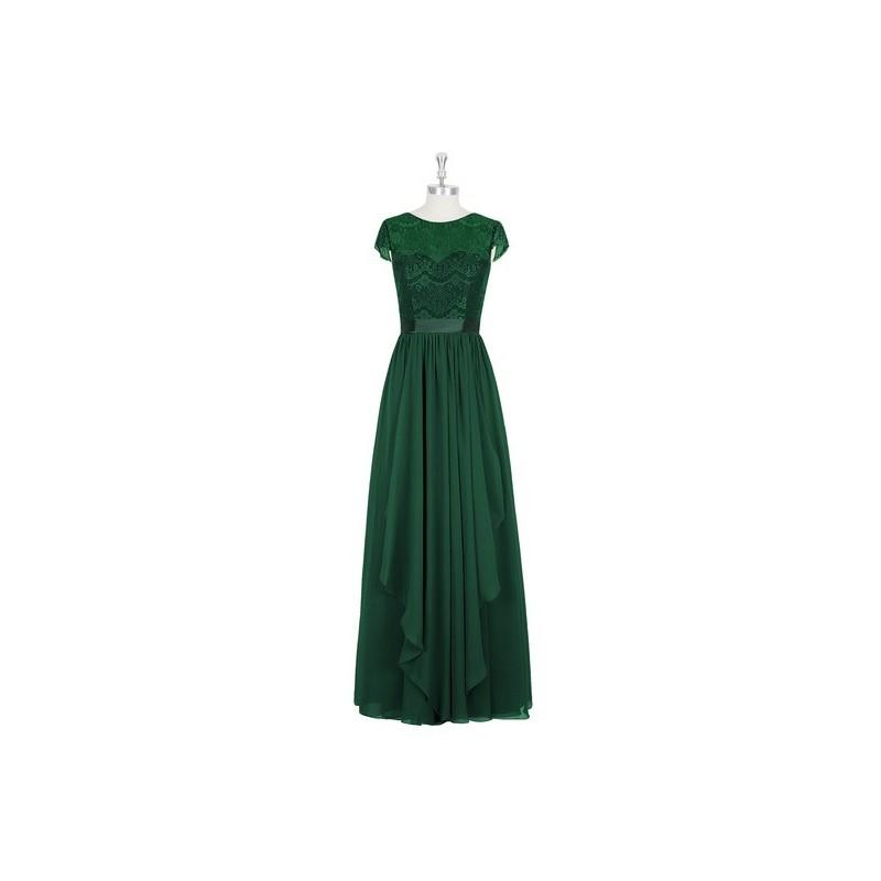 bbb0f12b529 Dark green Azazie Beatrice - Illusion Floor Length Scoop Chiffon ...