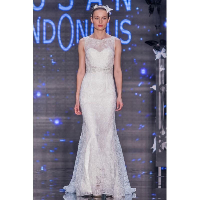 Свадьба - Lusan Mandongus 2017 Sigma Court Train Sleeveless Sheath Illusion Sweet Ivory Beading Lace Bridal Gown - Customize Your Prom Dress