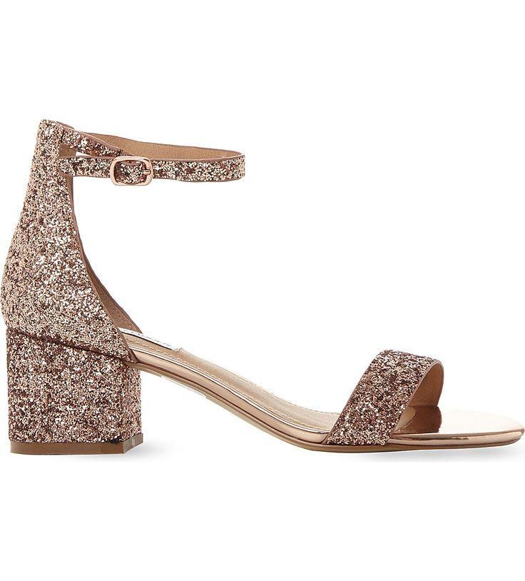 c7530935d38 STEVE MADDEN Irenee Rose Gold Glitter Block Heel Sandals (Rose Gold -synthetic