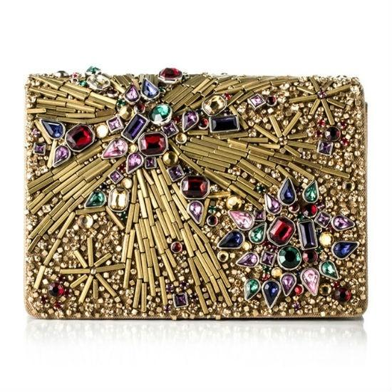 Hochzeit - Marchesa Gold Beaded Evening Bag Clutch
