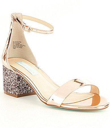 0a303233163 Blue By Betsey Johnson Jayce Metallic Ankle Strap Glitter Block Heel ...