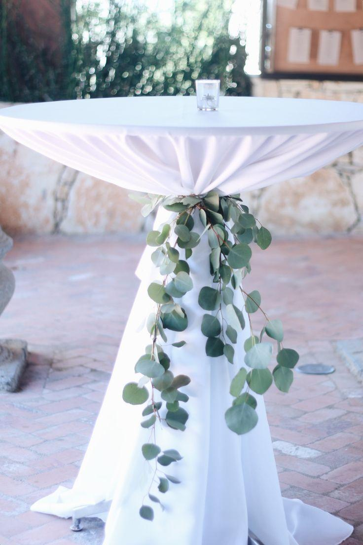 Hochzeit - Eucalyptus Cocktail Table Ties Are Such A Lovely Element To Add!