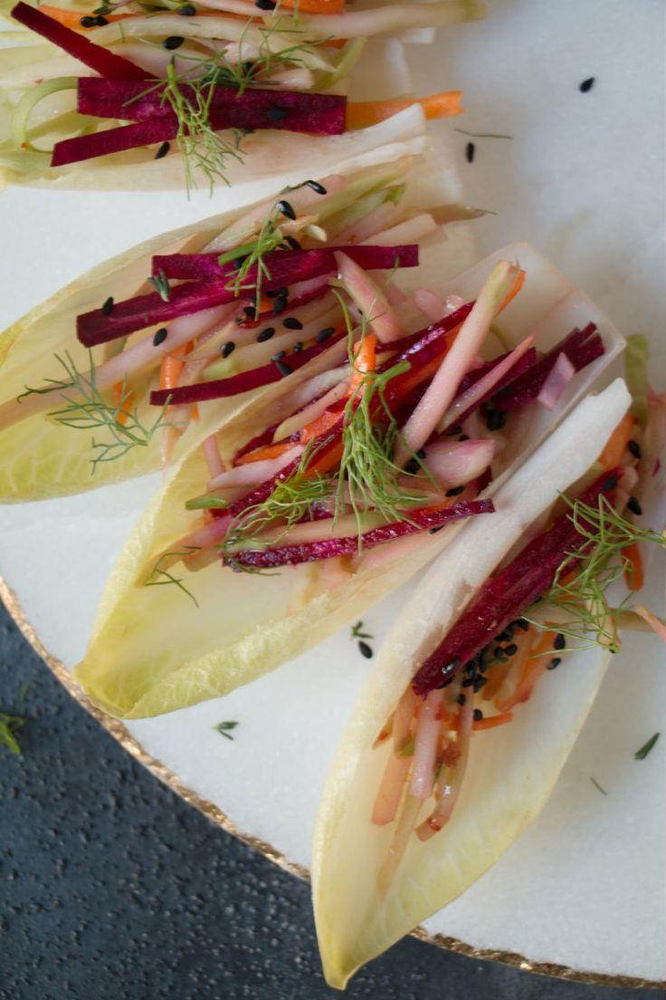 Hochzeit - Endive Boats With Beet-Carrot-Fennel In Asian Dressing