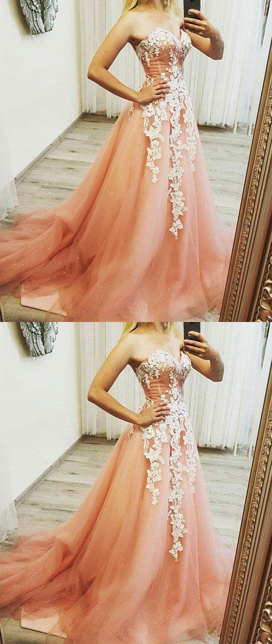 Wedding - Pink Sweetheart Neck Tulle Lace Applique Long Prom Dress, Evening Dress